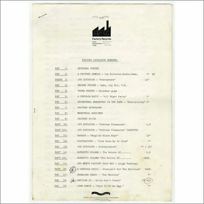 Factory Records 1986 Catalogue Numbers List (UK) • 220£