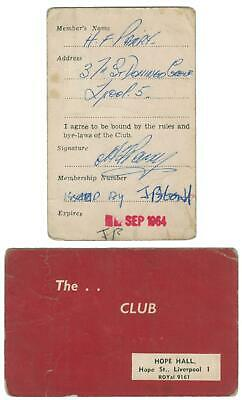 Hope Hall 1964 Membership Card (UK) • 45£