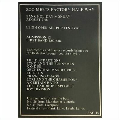 Factory Records FAC15 1979 Zoo Meets Factory Half-Way Festival Concert Poster UK • 8,800£