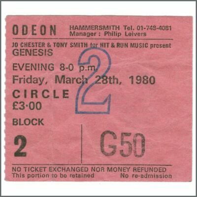 Genesis 1980 Odeon Hammersmith Concert Ticket Stub (UK) • 22.50£