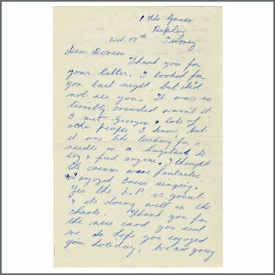 Patricia Clapton (Eric Clapton's Mother) 60s Handwritten Cream Related Letter UK • 550£