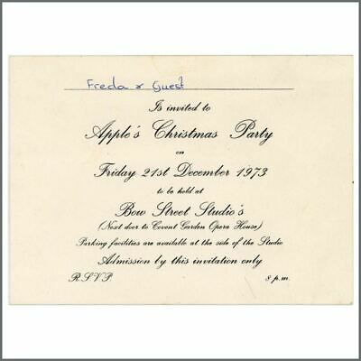 Freda Kelly's 1973 Beatles Apple Christmas Party Invitation (UK) • 880£