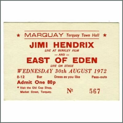 Jimi Hendrix 1972 Torquay Town Hall Live At Berkley Screening Ticket (UK) • 82.50£