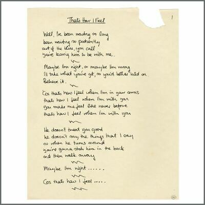 Phil Collins 1989 That's How I Feel Handwritten Lyrics (UK) • 1,375£