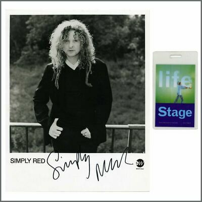 Simply Red Mick Hucknall 90s Signed East West Records Promo Photo & Pass (UK) • 55£