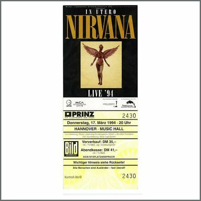 Nirvana 1994 Hannover Cancelled Concert Unused Ticket (Germany) • 165£