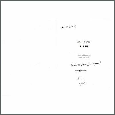 Yoko Ono Signed 2008 MAKE A WISH Greetings Card To Victor Spinetti (UK) • 220£