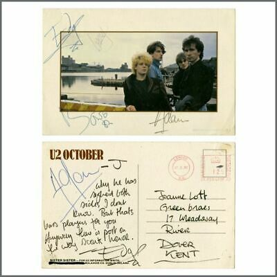 U2 1982 The Edge Handwritten Postcard Fully Signed By The Group (UK) • 1,980£