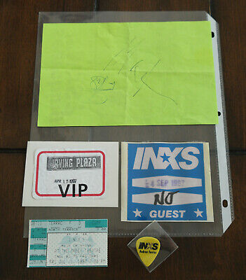 1997 INXS Tickets Pass , Guitar Pick & Autographs LOT • 196.70£