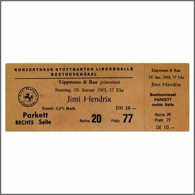 Jimi Hendrix 1969 Unused Stuttgart Concert Ticket (Germany) • 765£