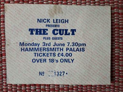 1 X Used Ticket The Cult, Hammersmith Palais, London  1985  • 2.59£