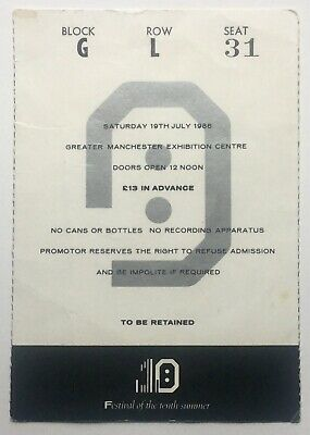New Order The Smiths Original Used Concert Ticket GMEX Festival Manchester 1986 • 60£