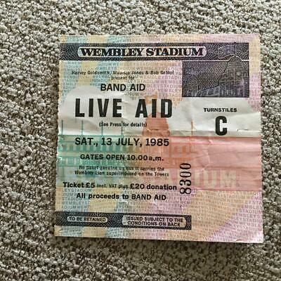 Queen Bowie U2 Live Aid Ticket Wembley Stadium 13/07/85 #8300 • 105£