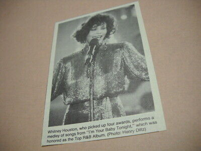 WHITNEY HOUSTON Performs Medley Of Songs 1991 Music Biz Promo Pic With Text • 3.57£