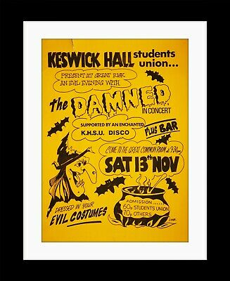 THE DAMNED Keswick Hall S.U.  PUNK Vintage Style Framed Poster Print MADE IN UK • 13.99£