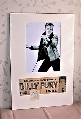 Billy Fury  Genuine Signed & Mounted Display.  • 44.99£