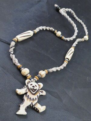 GRATEFUL DEAD DANCING BEAR HEMP NECKLACE Bone Beaded Pendant Jerry Garcia 20   • 17.77£