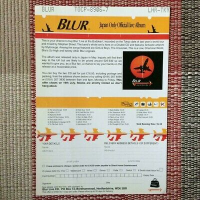 1 X Flyer For Blur Live At The Budokan Japan Only Official Live Album CD 1996 • 0.99£