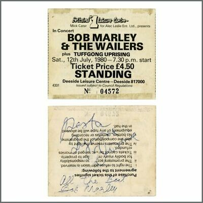 Bob Marley & The Wailers 80 Signed Deeside Leisure Centre Concert Ticket Stub UK • 2,750£