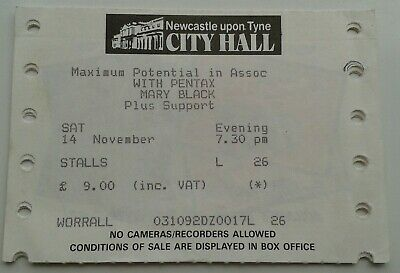 MARY BLACK NEWCASTLE CITY HALL CONCERT TICKET STUB 1990s • 1£
