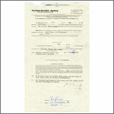 Rory Storm Signed 1963 Performance Contract (UK) • 435£