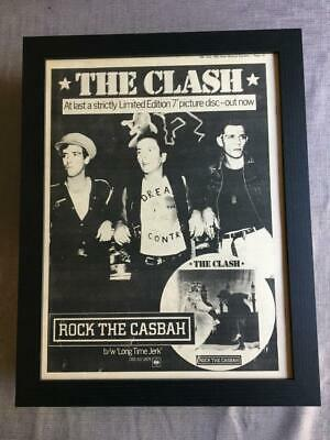The Clash Rock The Casbah 1982 Framed Advert / Ad  18  X 14  • 50£