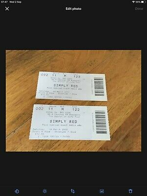 Simply Red Spirit Of Life Tour 2000 2 X Tickets • 4.99£