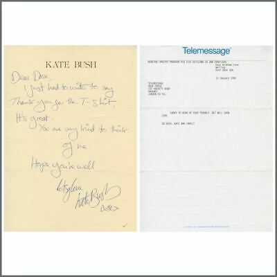 Kate Bush 1980 Signed Letter & 1994 Telemessage (UK) • 825£