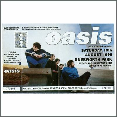 Oasis 1996 Knebworth Park Unused Concert Ticket (UK) • 110£