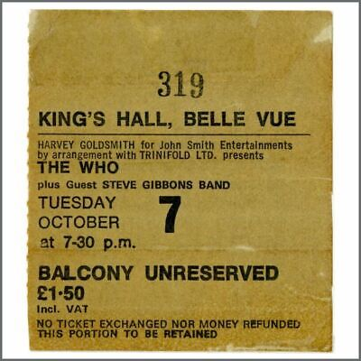 The Who 1975 King's Hall Belle Vue Manchester Concert Ticket Stub (UK) • 38.50£