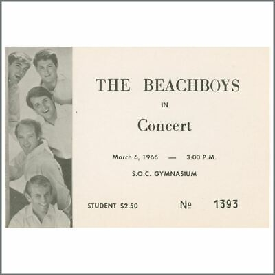Beach Boys 1966 Southern Oregon State College Concert Ticket (USA) • 137.50£