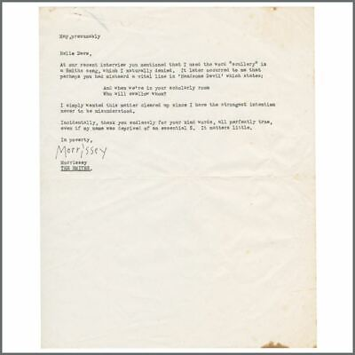 Morrissey Autographed Letter To Sounds Magazine Writer Dave McCullough (UK) • 1,375£