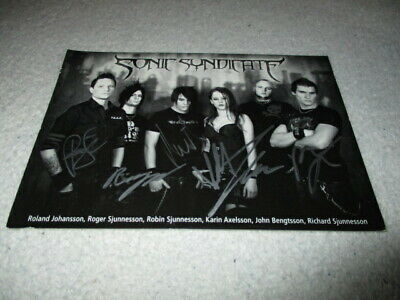 SONIC SYNDICATE  | Band Signed Promo Postcard  |  L@@K  |  Swedish Death Metal • 6.99£