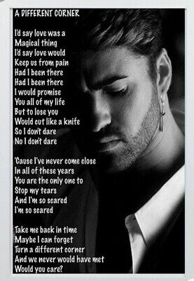 George Michael Photo.. 'A Different Corner Lyrics' Framed • 4.99£