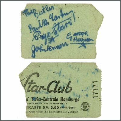 The Beatles 1962 Autographed Star Club Hamburg Entry Ticket (Germany) • 16,500£