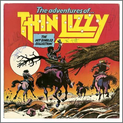 Thin Lizzy 1981 Autographed The Adventures Of Thin Lizzy LP (UK) • 605£