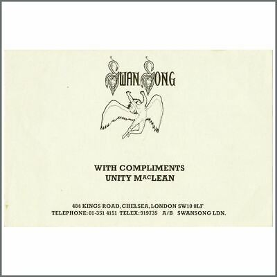 Led Zeppelin 1977 Swan Songs Records Unity MacLean Compliments Slip (UK) • 82.50£