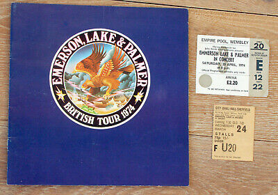 Emerson Lake & Palmer 1974 Wembley Empire Pool Concert Programme With Tickets • 36.99£