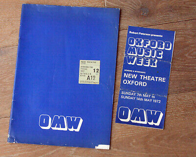 OXFORD MUSIC WEEK 1972 Programme & Flyer With Ticket For Donovan • 17.99£