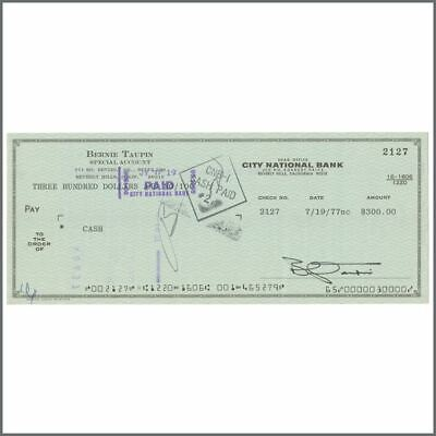 Bernie Taupin 1977 Signed Cheque (USA) • 330£