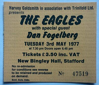 Eagles Original Used Concert Ticket New Bingley Hall Stafford 3rd May 1977 • 20£