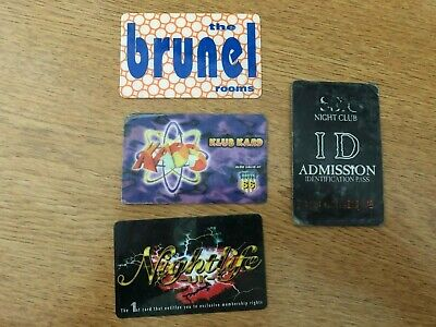 Swindon Nightclub Membership Cards X4 - Brunel, Kaos/Route 66, Mission, Eros • 9.99£